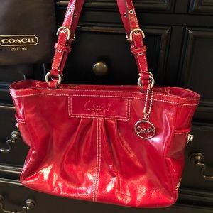 Coach red patent leather handbag/purse